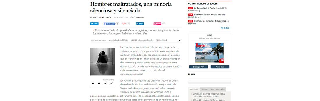 Tribuna sobre Hombres Maltratados en EcoLey de El Economista