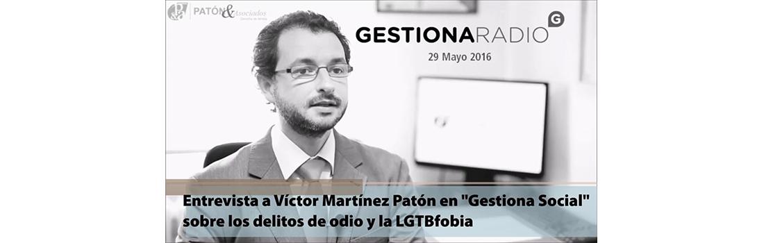 Entrevista en Gestiona Radio sobre LGTBfobia y delitos de odio